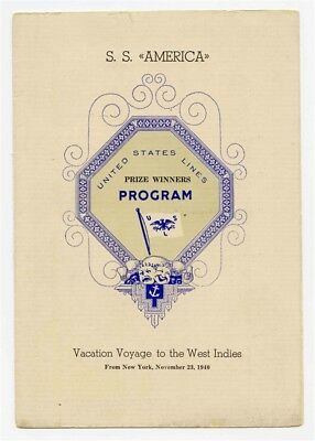 S S America Prize Winner Program United States Lines West Indies Cruise 1940