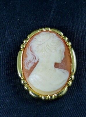 Vintage Cameo Lady Dress Scarf Clip Lucite Gold Tone Oval Ornate Victorian Shiny