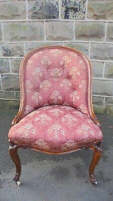 Antique English Walnut Upholstered Chair Nursing Chair