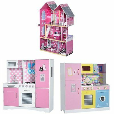 Deluxe Kids Toy Kitchen Large Children Wooden Cooker Girls Boys Play Set Xmas uk
