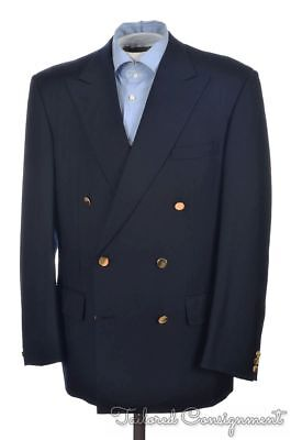 CHESTER BARRIE Solid Blue 100% Wool Mens Blazer Sport Coat Jacket - 41 R