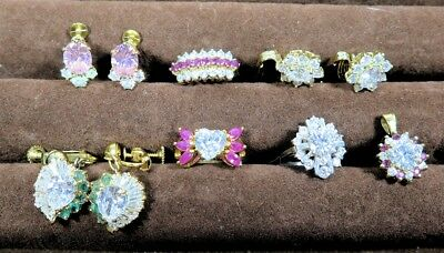 7 PC LOT of STERLING SILVER & 12KGF, GEMSTONE & CRYSTAL JEWELRY, Rings&Earrings