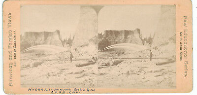 Hydraulic Mining - Gold Run, CA on C.P.R.R. - Original CA Mining Stereoview!