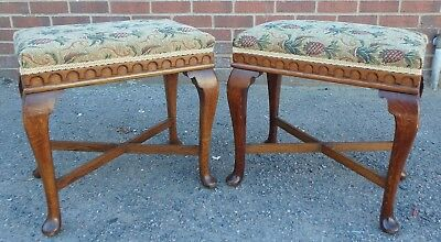 Pair Edwardian antique Arts & Crafts solid oak upholstered footstools stools