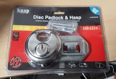 CK KASP STAINLESS STEEL 70mm DISC / DISKUS PADLOCK + 120mm HASP & STAPLE