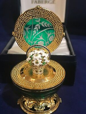 Authentic Faberge Imperial collection Emerald crystal Spring flowers Egg limited