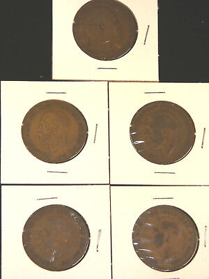 1903, 1913, 1928, 1929, 1945 British Large Pennies, Lot of 5 coins  #401N