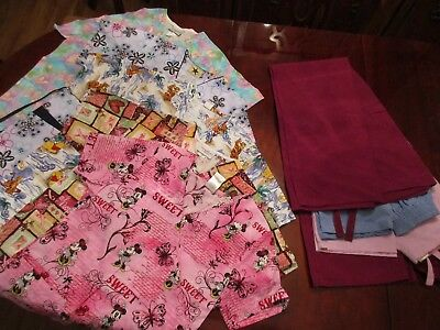 Lot of Scrubs 4 Tops 4 Pants Disney Peaches Black Star SB Synergy EXCELLENT XS S