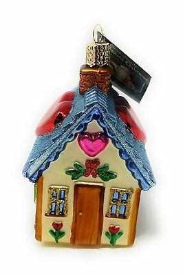 BLUE SWEETHEART COTTAGE Love Glass Ornament Old World Christmas NEW IN BOX