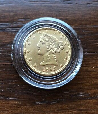 1893 Gold Liberty Head.  $5 Half Eagle In Stunning Gem Condition!