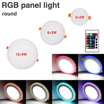 Acrylic Round Ceiling LED Recessed Panel Lights Colorful RGB Indoor Office 4A05