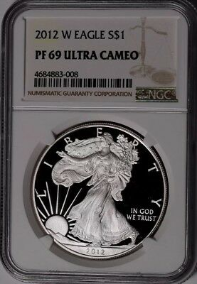 2012-W US American Silver Eagle 1oz 99 Silver Proof Coin NGC PF69