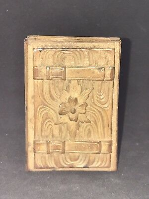 Rare Antique Black Forest Carved Small Wood Box Buckles Design 1800S .