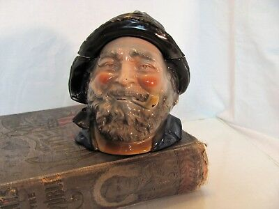 Majolica Humidor Figural Tobacco Jar From Early 1900's Sea Captain with Pipe