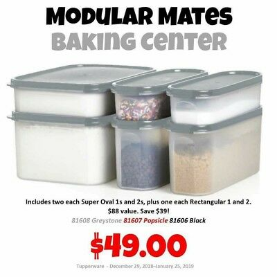 Tupperware Modular Mates Super Ovals/rectangular 6PC set black/grey/red seals