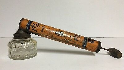 Vintage Bug Sprayer- FLY DED Clear Glass Jar~Metal pump & lid ~Wooden Handle