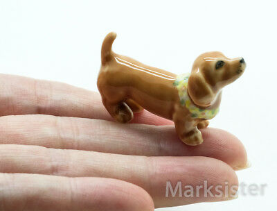 Figurine Animal Ceramic Statue Miniature Brown Dachshund Dog Hawaii - CDG199