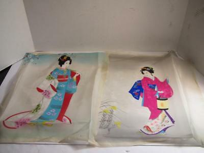 2 Stunning JAPANESE - CHINESE Painting On Silk on Fabric FIGURES - L@@K!!!