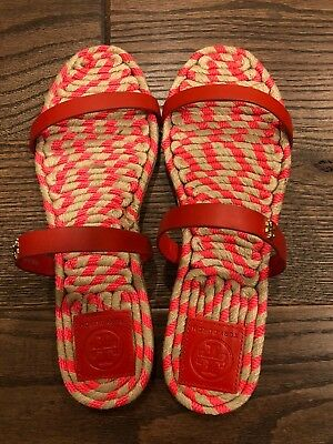 3489d320e New In Box Tory Burch Two-band Flat Espadrille Slide Sandals 7.5M Masai Red