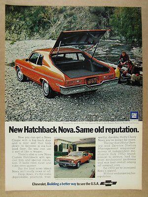 1973 Chevrolet Chevy NOVA Hatchback Coupe orange car photo vintage print Ad