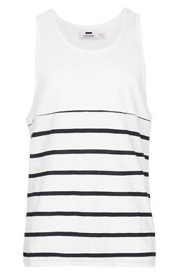 f608b98ccd6ce Topman Mens Breton Tank Top XL White Navy Striped Sleeveless Shirt New NWT
