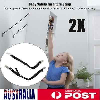 2X TV Safety Strap Anti Tip Set Kid Proof Furniture Fix Safty Straps Band
