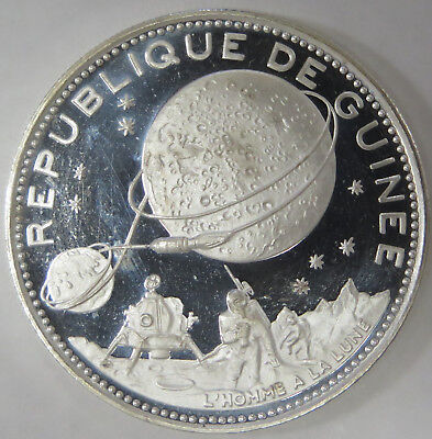 1970 Guinee Guinea 250 Francs Proof Silver Coin Lunar Landing KM# 12