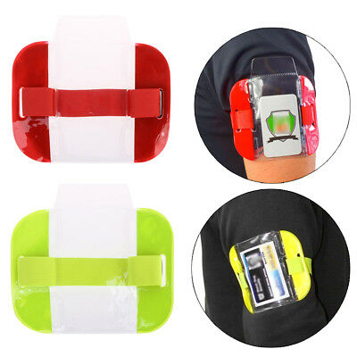Tactical Arm Band ID Badge Holder Vertical Photo Security Armband Card Cover Lot