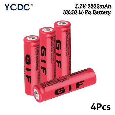 4X 3.7V 9800mAh GIF 18650 Battery Rechargeable For Flashlight Torch Headlamp 48