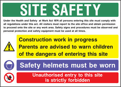 Cons0015 Site Saftey Sign Sticker Health Safety Warning