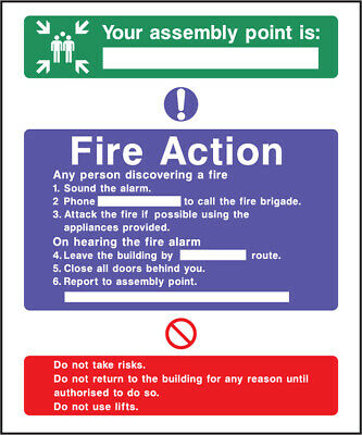 Fact0008 Fire Action Your Assembley Point Sign Sticker Health Safety Warning