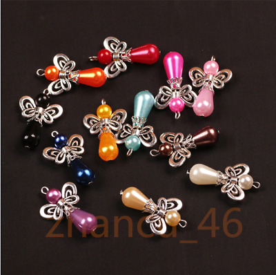 100Pcs Mixed charm Dancing Angel Wings Heart Charms Pendants 29x17mm