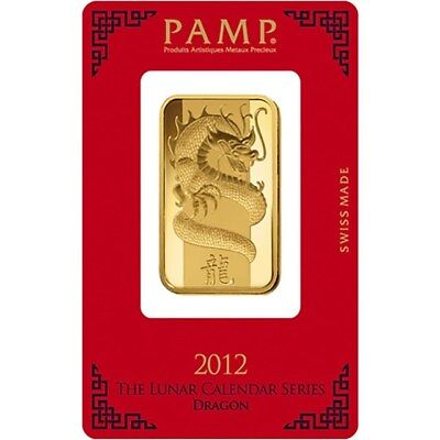 PAMP Suisse Lunar Dragon 1 oz Pure Gold Bar 2012 Bullion