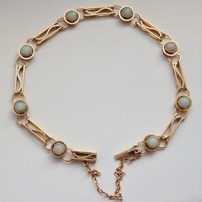 Antique Edwardian 15ct Gold Opal Openwork Bracelet with Concealed Clasp c1910