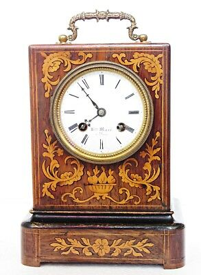 Antique H.marc French Officer's Campaign Clock Inlaid Rosewood Bell Strike C1860