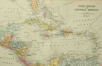 1891 Antique Map West Indies & Central America Cuba Jamaica Haiti Guatemala