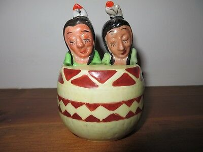 Antique ceramic Indian nodders salt and pepper shakers