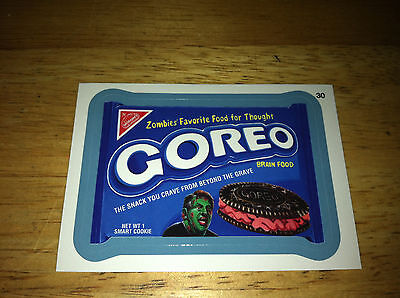 Wacky Packages Ans11 11 Blue Border Sticker Goreo Oreo Brain Zombie Cookies 30