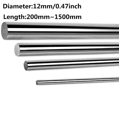 12mm Diameter Hardened Steel Shaft Linear Bearing Rod Rail Axis L 200mm-1500mm