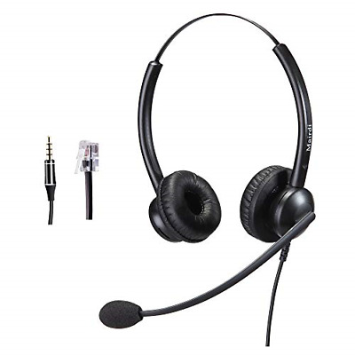 Telephone Headset with RJ9 Jack for Phone with Noise Cancelling Microphone Plus
