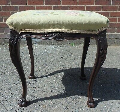 Victorian antique solid carved mahogany Gregory & Co. Thomas Hope design stool