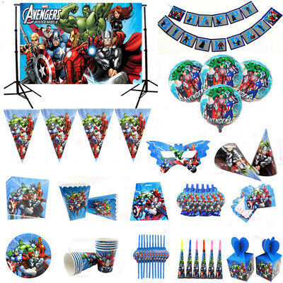 Avengers Superheroes Boys Birthday Party Supplies Decor Tableware Balloons Cups