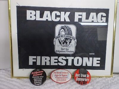 3 Bridgestone/ Firestone Pinback Buttons And Black Flag