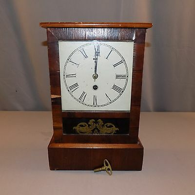 Antique Thirty Hour Time Pieces Working mantle clock dated 8/30/1870 ? key vgc