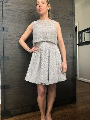 f250d20f198fc Alice + Olivia Hilta Beaded Combo Swing Dress Size 4 Silver