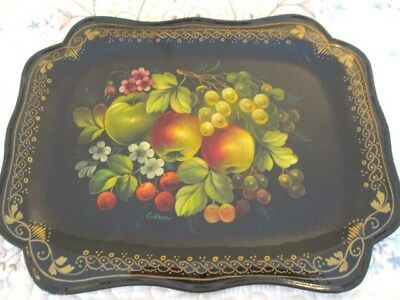 Large Hand Painted Signed Vintage Apples Cherries Pears Grapes Russian Tole Tray
