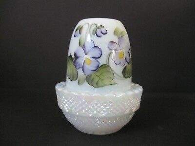 MOSSER GLASS GLIMMER FAIRY LIGHT HP PANSIES on IRIDIZED PEARL WHITE BASE