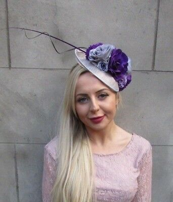 Grey Purple Lilac Feather Flower Disc Saucer Hat Fascinator Hair Floral 6651