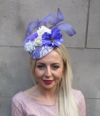 Iris Lavender Lilac Purple Cream Flower Pillbox Hat Fascinator Races Hair 6654