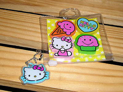 Hello Kitty School  Eraser Set with Keychain SO CUTE New CUTE GIFT